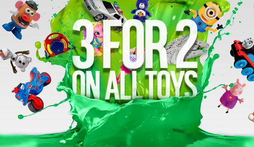 argos 3 for 2 sale on all toys in store from today friday
