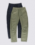2 Pack Pure Cotton Ripstop Adjustable Waistband Trousers (5-14 Years) now only €22 (WAS €24 Save 8%) – @mands.