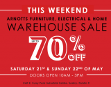 Expired:Arnotts Warehouse Sale this weekend 21st & 22nd May – Get up to 70% off furniture, electrical & homeware