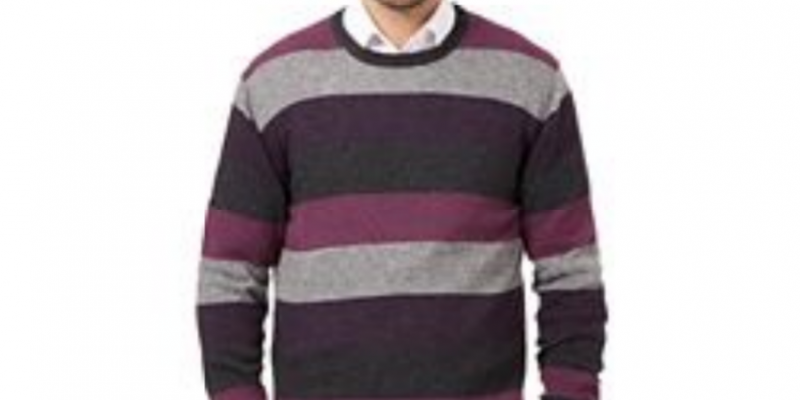 Big and tall purple striped wool blend crew neck jumper now only €55 (WAS €38.50 Save 70%) – @ currys.