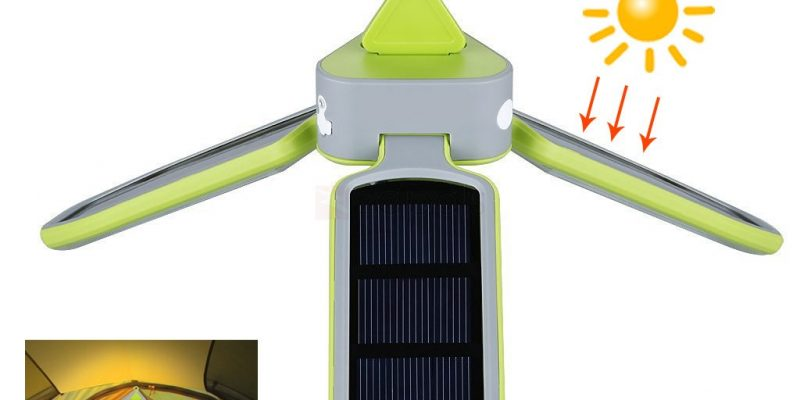 Collapsible 18-LED Solar USB Rechargeable Outdoor Tent Lamp
