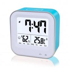 Samshow Rechargeable Digital Desk Alarm Clock w/ Backlit Temperature Humidity