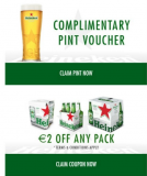 Expired:Free Pint of Heineken Light –  Sign up and get your complimentary pint voucher and 2 euro off voucher