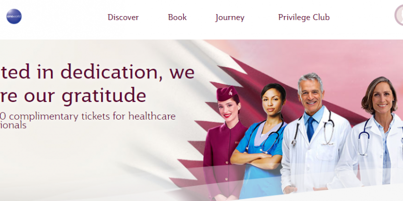 100,000 Complimentary Economy Class Return Tickets for Health Care Professionals by Qatar Airways.