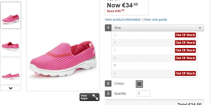 Expired:Skechers Go Walk 3 Shoe (Size 7 only) – Was €74.00 Now €34.00 Save €40.00 @Littlewoods